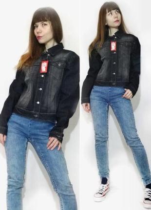 Куртка джинсовая серая пиджак джинсовый классический хлопок 100%
