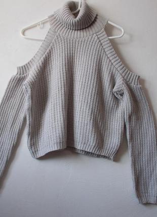 Бежевый свитер с вырезами на плечах missguided свитер  с открытыми плечами