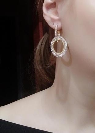Акция! вечерние сережки серьги геометрия камни кристалы3 фото