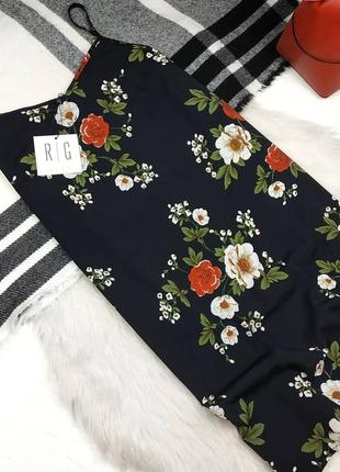 Платье на тонких бретелях в цветочный принт
