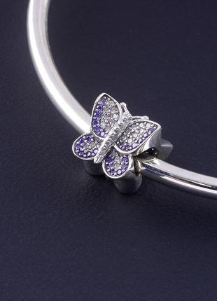 Шарм бабочка серебро 925.