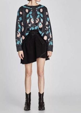 Черная джинсовая юбка zara юбка с необработанными краями с рваностями юбка с воланом