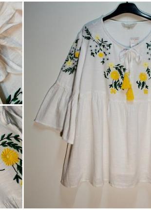 Стильная воздушная белая блуза с вышивкой цветы 58 размер