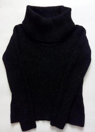 Шерстяной свитер в рубчик с высоким горлом, m/l