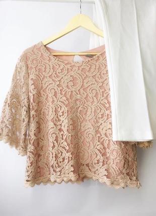 Кружевная блуза топ персикового цвета