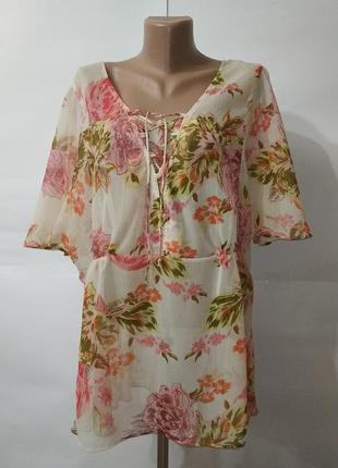 Новая бежевая блуза туника в цветы uk 18 / 46 / xxl большой размер