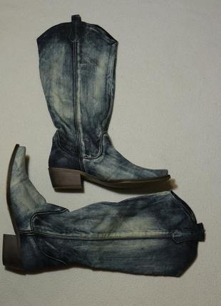 Итальянские джинсовые демисезонные сапоги, низкий ход