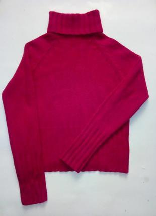 Яркий шерстяной укороченный свитер под горло, m/l
