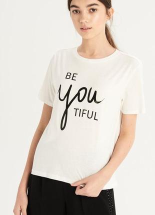 Новая широкая белая футболка sinsay beautiful синсей принт надпись красивая s l xl
