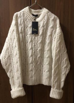 Белый свитер оверсайз dilvin, в составе мохер и шерсть