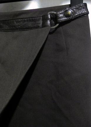 Юбка choise чёрная коричневая карандаш с кожаным поясом шерсть шерстяная