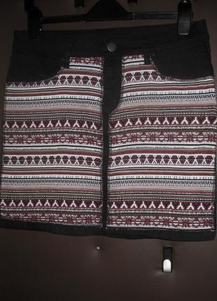 Юбка esmara орнамент рисунок чёрная джинсовая бордовая полоска коттон хлопок фактурная