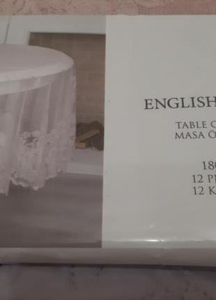 Красивая пудровая скатерть на круглый стол, english home, 180 r