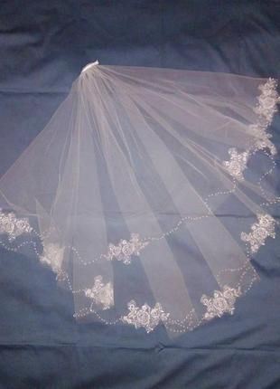 Фата свадебная кружево бусины