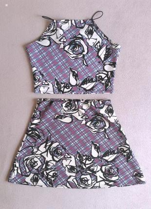 Цветочный костюм топ и мини юбка-трапеция+ подарок!