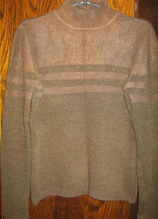 Теплый изумрудный свитер джемпер гольф кофта реглан ангора полоска металик easy comfort