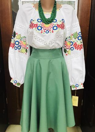 Блуза с вышивкой вышиванка кружево размер 46-48