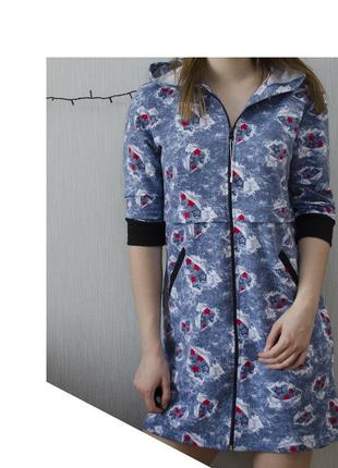 Домашній халат - туніка одяг для дому з капюшоном made in belarus