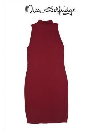 Платье бордо в обтяжку с воротом miss selfridge