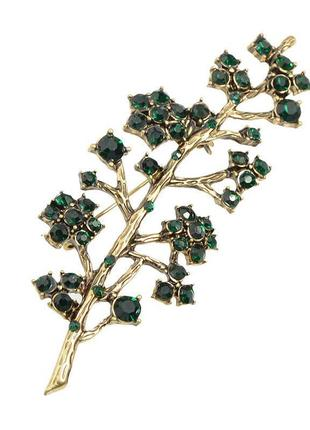 Дизайнерская винтажная брошь античное золото зеленый горный хрусталь