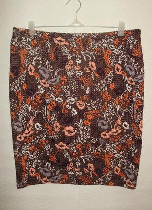 Фактурная стрейчевая юбка-карандаш цветочный принт/батал/18/52-54 размера
