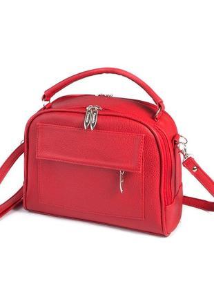 Красная маленькая сумка через плечо кросс боди два отделения
