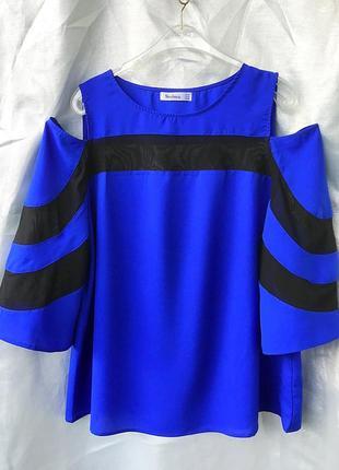 Шикарная фирменная блуза большого размера с чёрной эластичной вставкой от nextmia