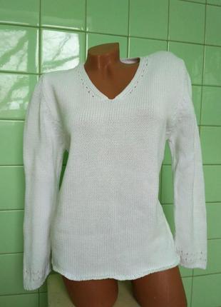 Красивый,стильный,фирм бренд кофта свитшот свитер вязаный в косы белый базовый теплый