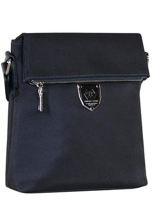 Малая сумка мужская через плечо  0881-1 синяя текстильная, 22*20*5 см
