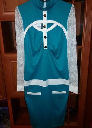 Красивое платье с гипюровыми рукавами размер 50-54