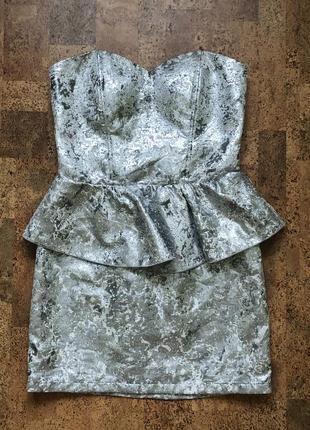 Платье м коктейльное бюстье футляр металлик серебряное bik bok.