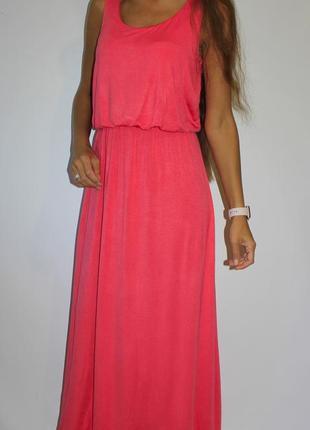 Розовое платье в пол - вискоза (пог 49см)