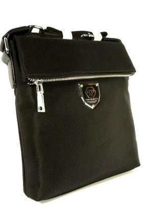 Малая сумка мужская через плечо 0881-1 черная текстильная, 22*20*5 см