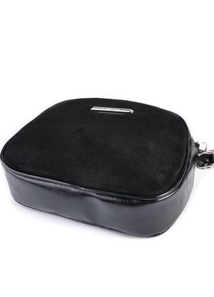 Маленькая замшевая сумка через плечо кросс боди овальная на молнии2
