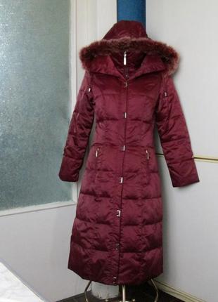 Пальто-пуховик цвета марсала