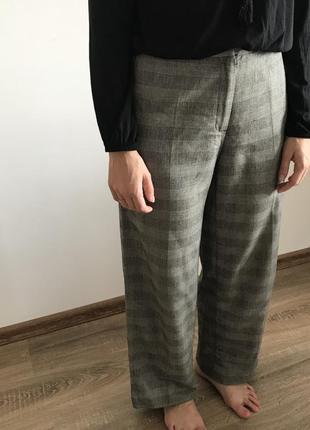Шерстяные брюки кюлоты в клетку sisley