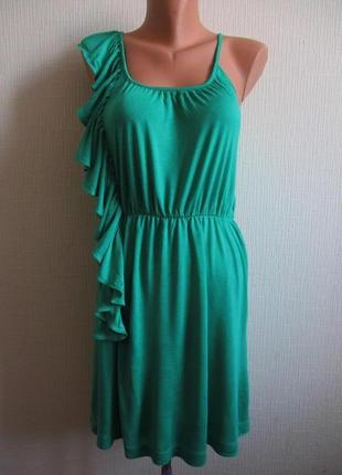 Платье с воланом из вискозного трикотажа mango