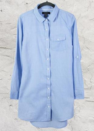 Голубое платье-рубашка, строгая удлиненная рубашка с воротником стойкой atmosphere2 фото