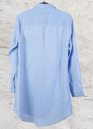 Голубое платье-рубашка, строгая удлиненная рубашка с воротником стойкой atmosphere3 фото