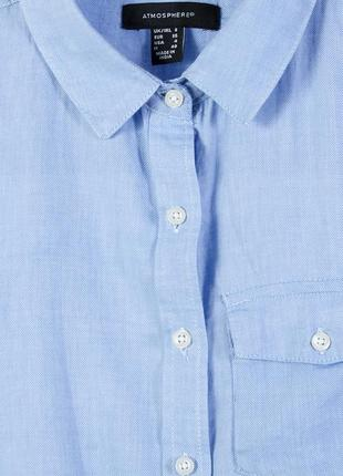 Голубое платье-рубашка, строгая удлиненная рубашка с воротником стойкой atmosphere4 фото