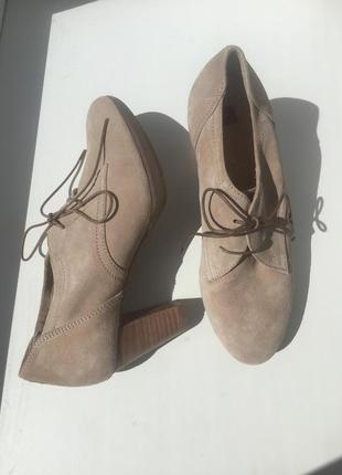 Новые кожаные ботинки/ туфли 35,5-36 размер, бежевые/нюд, hogl, демисезонные