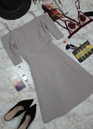Обнова! платье открытые плечи а-силуэт беж качество h&m