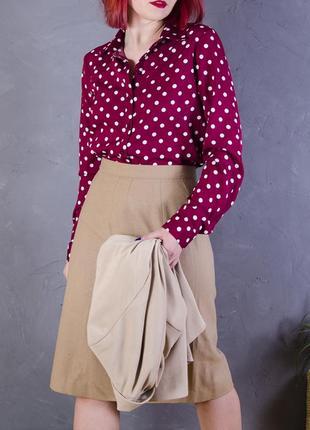 Красная блуза в горошек, бордовая блузка в крупный горошек4