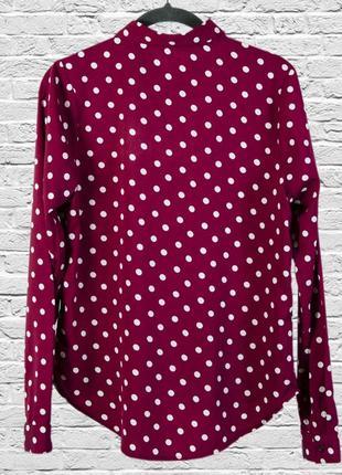 Красная блуза в горошек, бордовая блузка в крупный горошек2