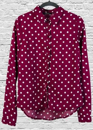 Красная блуза в горошек, бордовая блузка в крупный горошек