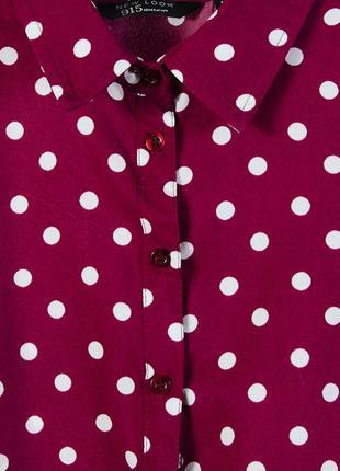 Красная блуза в горошек, бордовая блузка в крупный горошек3