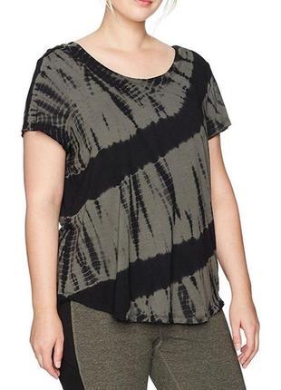 Черно-серая футболка *calvin klein* батал plus 2x в абстрактный принт