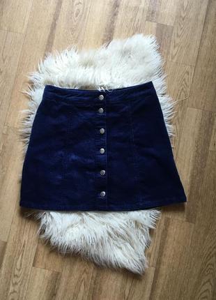 Трендовая вельветовая юбка на пуговицах а-образная