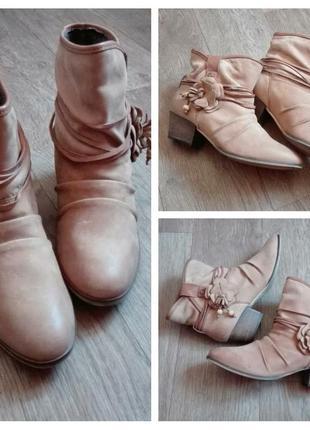 Стильні оригінальні шкіряні демі чобітки розмір 40, redlove, виробництво іспанія