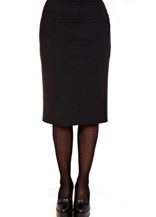 Теплая красивая прямая юбка - карандаш, узор вертик полоски, шерсть+спандекс